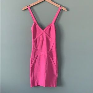 Bebe Pretty in Pink Bandage Dress